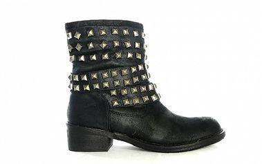 Dámske čierne nízke čižmy s cvočkami Shoes in the City