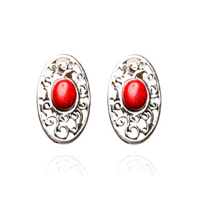 Dámske strieborné filigránové náušnice s červenou perlou Beau M