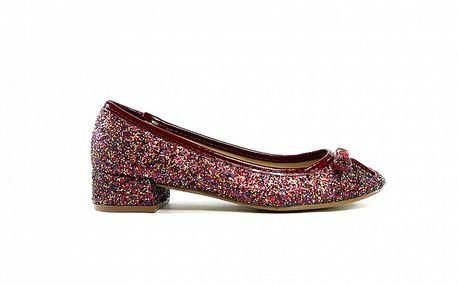 Dámske vínovo-fialové flitrové baleríny Shoes in the City
