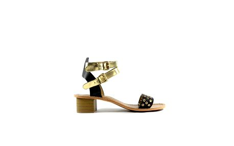 Dámske čierno-zlaté kožené sandálky Shoes in the City