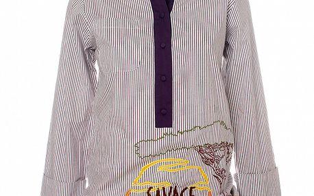 Dámská fialová pruhovaná košile s výšivkou Savage Culture