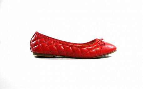 Dámske červené kožené prešívané baleríny Shoes in the City