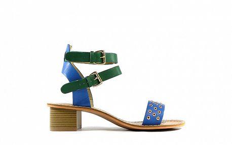 Dámske modro-zelené kožené sandálky Shoes in the City