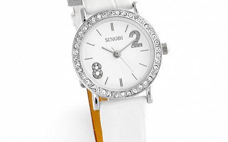 Dámske biele hodinky Sinobi s bielymi zirkónmi
