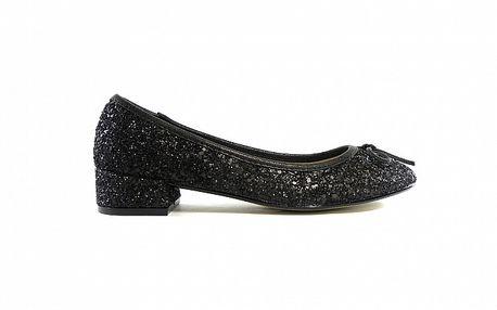 Dámske čierne flitrové baleríny Shoes in the City