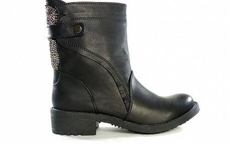 Dámske čierne nízke čižmy s flitrami Shoes in the City