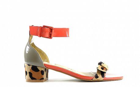 Dámske červeno-zelené lakované sandálky Shoes in the City s leopardím detailom