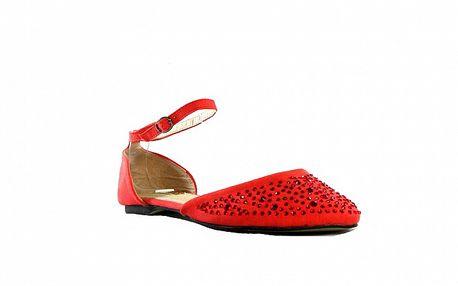 Dámske červené sandálky s kamienkami Shoes in the City