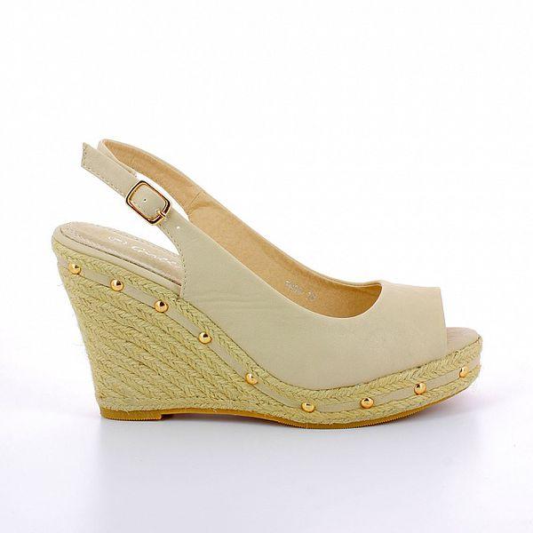 Dámské béžové sandále s provazovým klínem GirlHood