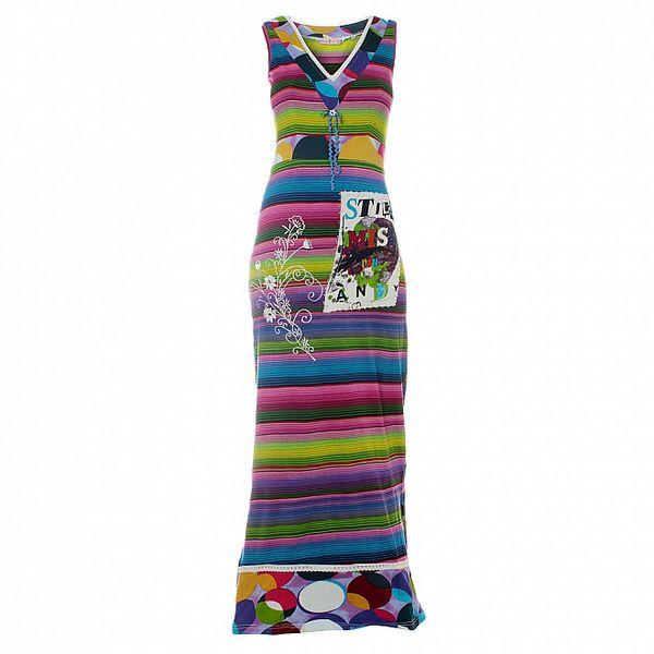 Dámské dlouhé barevné pruhované šaty Savage Culture