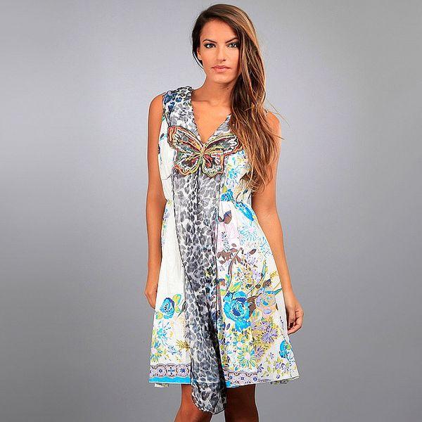 Dámské tyrkysovo-krémové šaty Des Si Belles s květinovým potiskem a dlouhou leopardí šálou