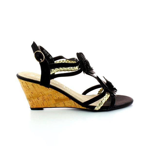 Dámské černé sandále s květinami a zlatými pásky GirlHood