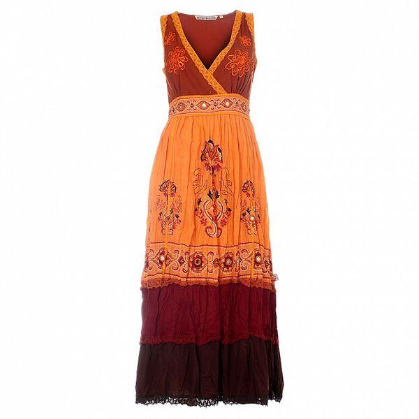 Dámské dlouhé oranžové šaty Savage Culture s ornamenty