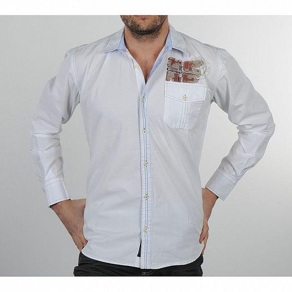 Pánská bílá košile s modrými detaily Napapijri