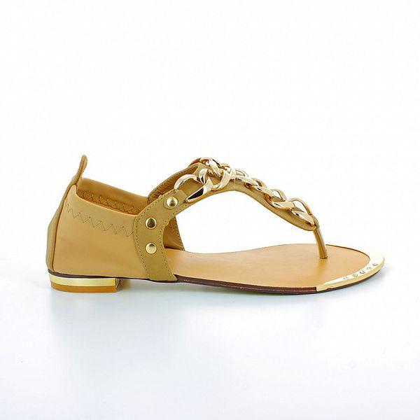 Dámské béžové sandálky se zlatými kovovými řetízky GirlHood