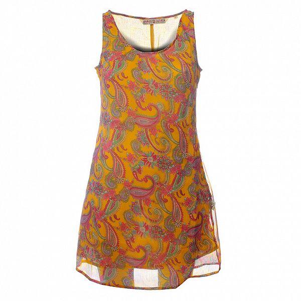 Dámské hořčicové šaty Savage Culture s růžovo-zelenými ornamenty