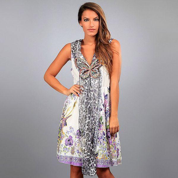 Dámské fialovo-krémové šaty Des Si Belles s květinovým potiskem a dlouhou leopardí šálou
