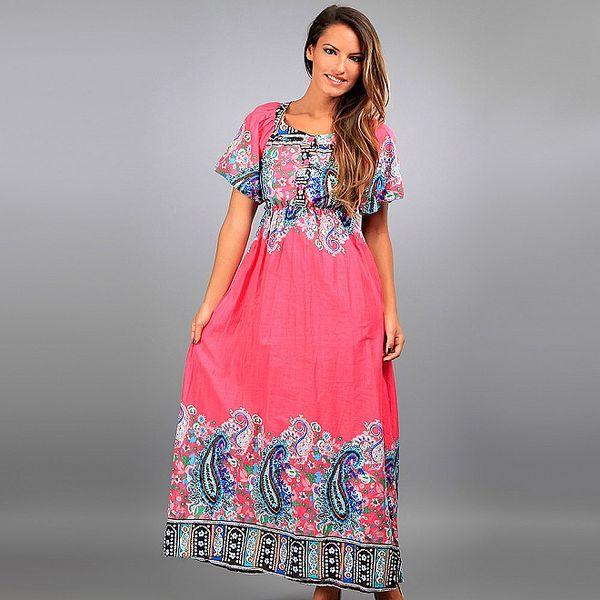 Dámské dlouhé růžové šaty Des Si Belles s ornamenty
