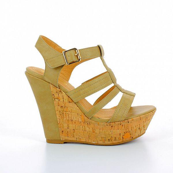 Dámské khaki sandále na korkové platformě GirlHood