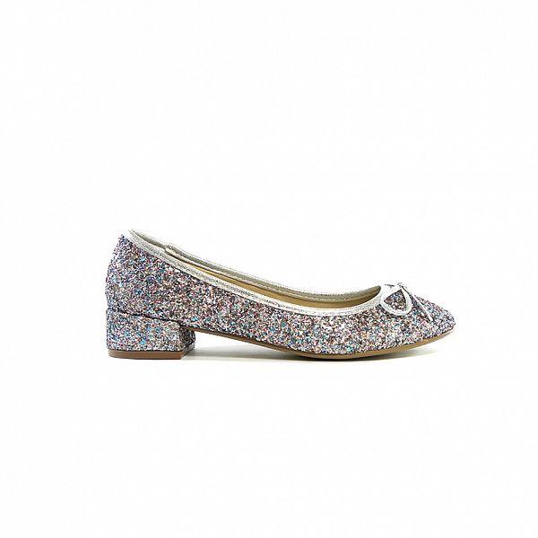Dámske strieborno-modré flitrové baleríny Shoes in the City