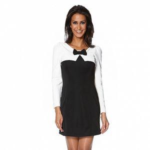 Dámske čierno-biele šaty s mašličkou S...with Swarovski