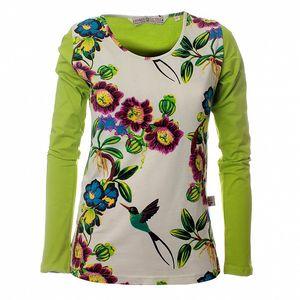 Dámsky zeleno-krémový top Savage Culture s motívom kvetov a vtákov