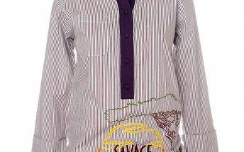 Dámska fialová pruhovaná košeľa s výšivkou Savage Culture