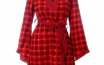 Dámska červená tunika Savage Culture s bodkovaným vzorom