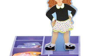 Magnetická oblékací panenka Maggie se dřevěným stojanem a sadou oblečků
