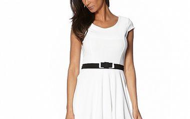 Dámske biele šaty s čiernym lemom a opaskom S...with Swarovski