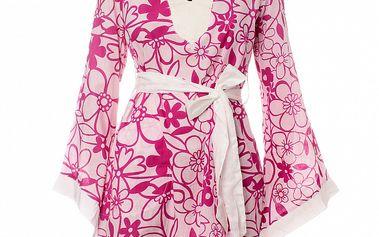Dámska bielo-ružová tunika Savage Culture s kvetinovým vzorom