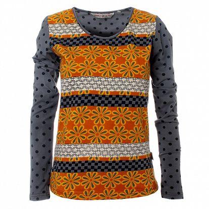 Dámsky šedo-oranžový top Savage Culture s kvetinkami a bodkami