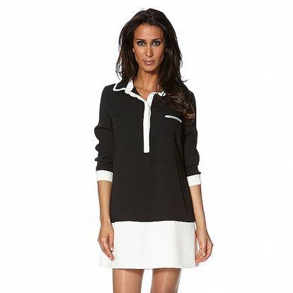 Dámske čierno-biele košeľové šaty S...with Swarovski