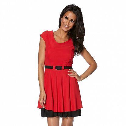 Dámske červené šaty s čiernym lemom a opaskom S...with Swarovski