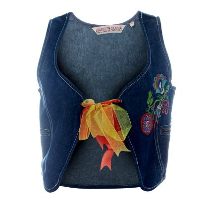 Dámska džínsová vestička Svage Culture s farebnou výšivkou a mašľou