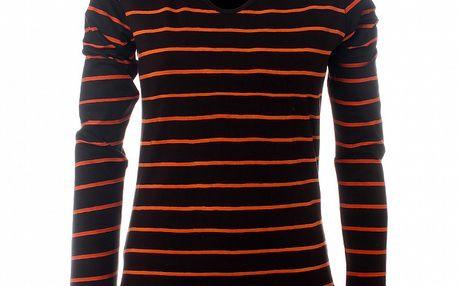 Dámske hnedo-oranžové pruhované tričko Savage Culture