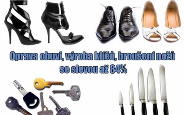 """Odborná oprava obuvi, výroba klíčů a broušení nožů, a v pasáži """"černá-růže"""" v centru, broušení keramických nožů!!."""