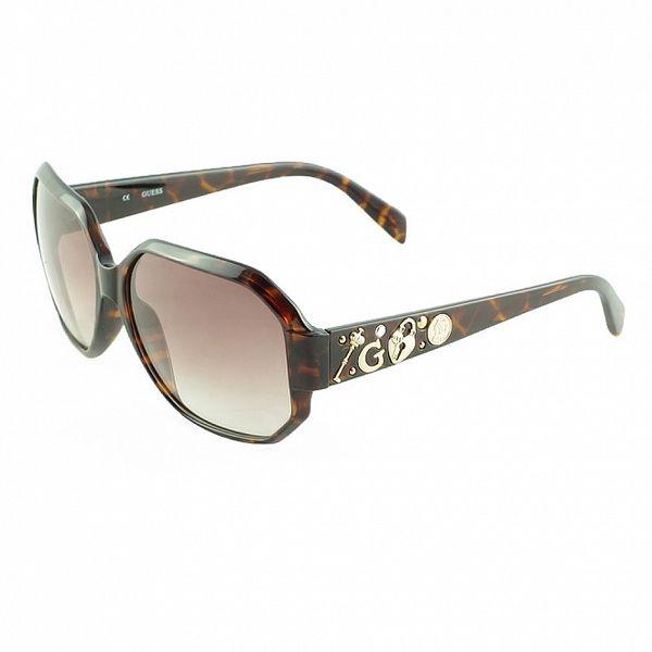 Dámské želvovinové sluneční brýle s ozdobenými stranicemi Guess