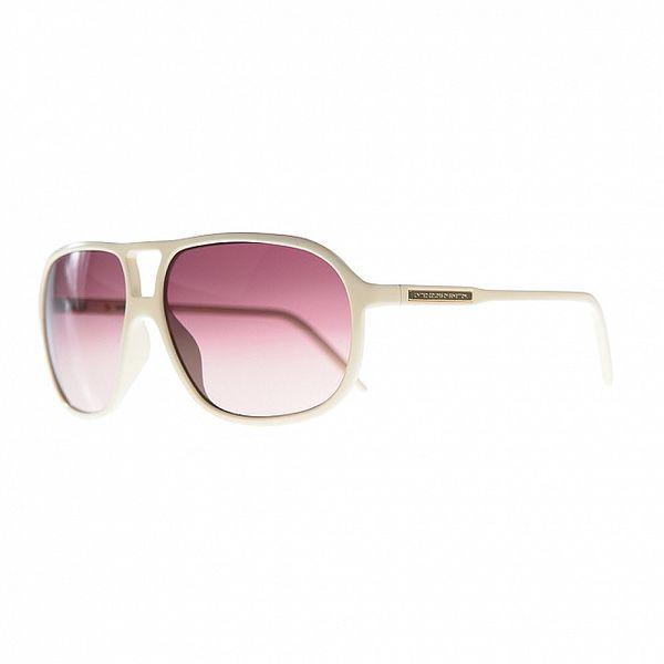 Dámské bílé sluneční brýle s fialovými skly Benetton