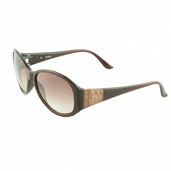 Dámské hnědé sluneční brýle s ozdobenými stranicemi Guess