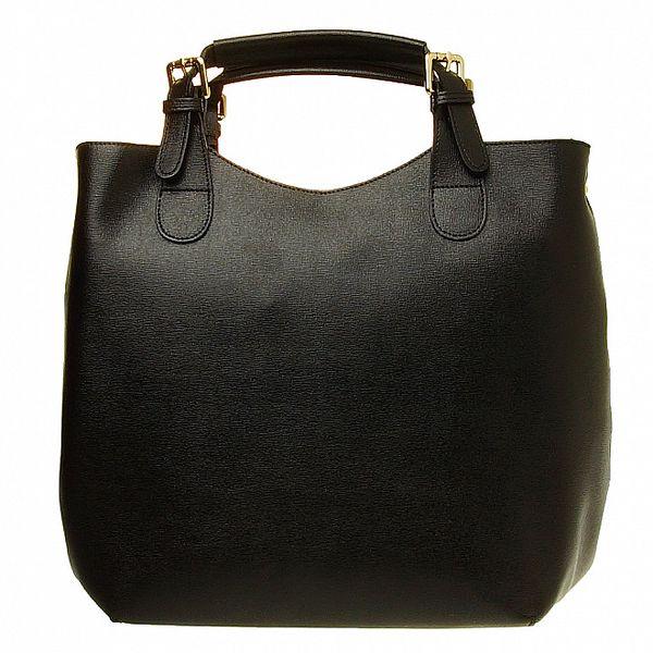 Dámská černá kožená kabelka se zlatými prvky