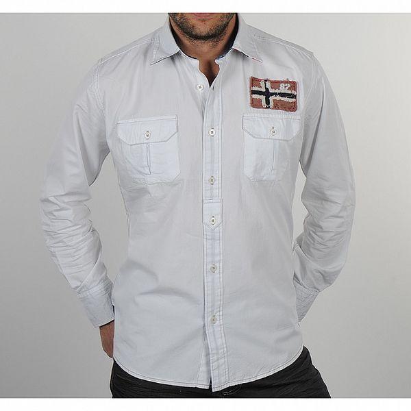 Pánska biela košeľa s vlajkou Napapijri
