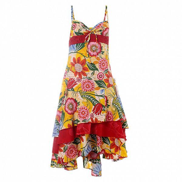 Dámske červeno-žlté šaty Savage Culture s kvetinovým vzorom