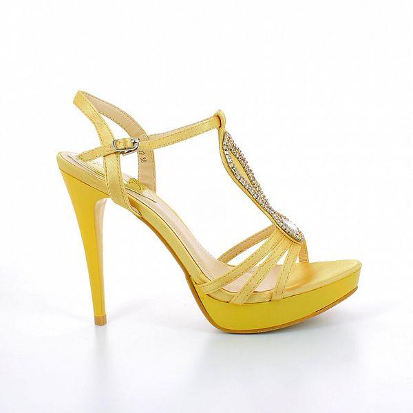 Dámske zlato-žlté sandále so štrasovými kamienkami GirlHood
