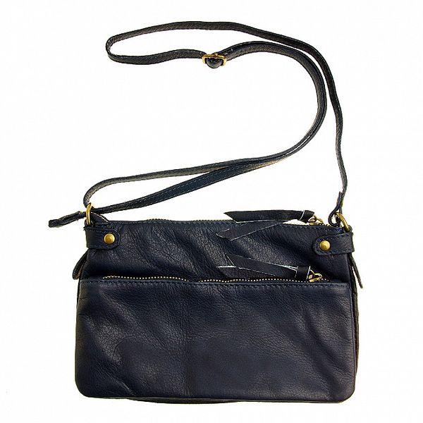 Dámska tmavo modrá kabelka s dvomi zipsami a nastavitelným popruhom