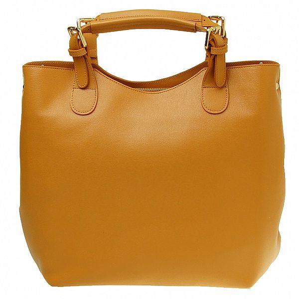 Dámská velbloudí kožená kabelka se zlatými prvky