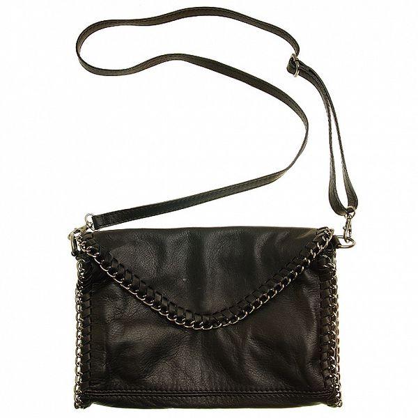 Dámská černá kožená kabelka s řetízkovým pletením