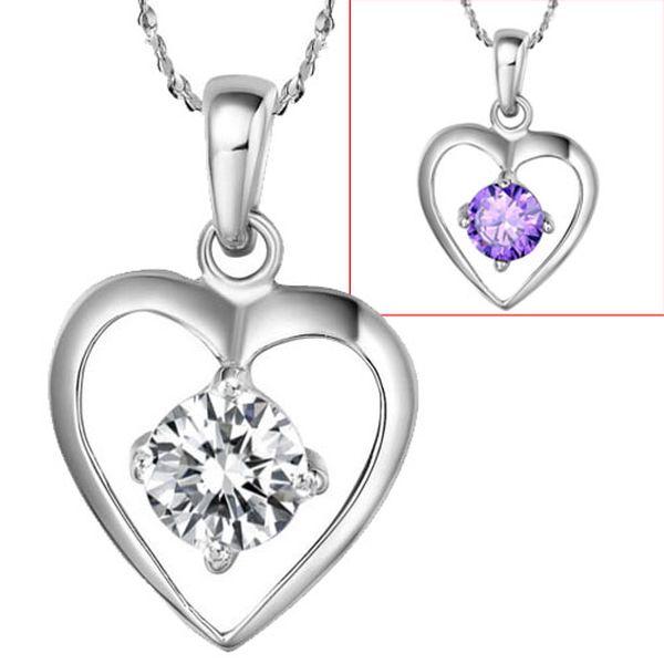 Přívěsek ve tvaru srdce s broušeným kamínkem a poštovné ZDARMA! - 156