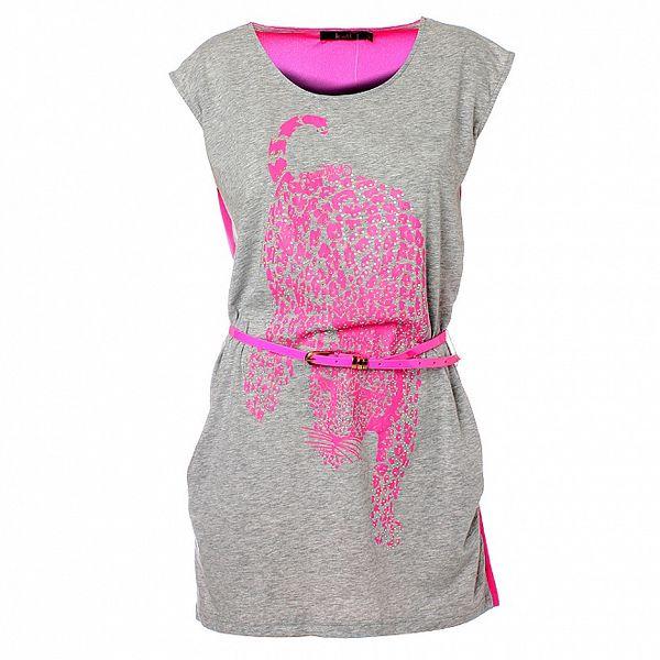 Dámske šedo-ružové šaty Kzell s leopardom a kamienkami