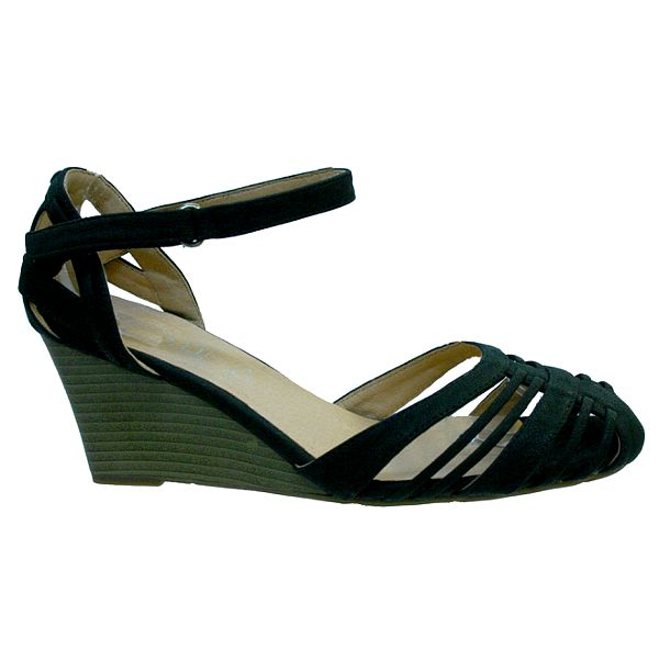 Dámské černé perforované sandále Vanelli